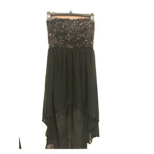 Black Strapless Sequin High-Low Dress